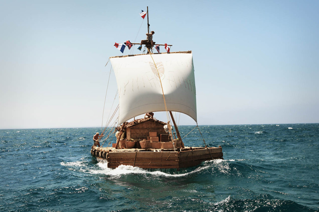 En la película se ha recreado fielmente la construcción de la Kon-Tiki.