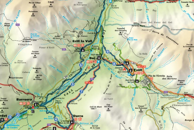 Durante el recorrido se pueden consultar paneles con mapas como este en los que están indicados todos los senderos. (Click e la imagen para descargar el mapa completio en PDF).