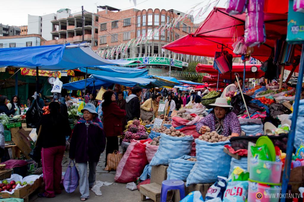 EL Mercado Rodríguez de La Paz se divide en diferentes sectores dependiendo del producto.