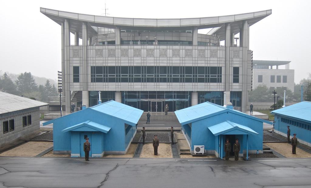 Area de Seguridad Conjunta de Panmunjom. Corea del Sur vista desde el Norte.
