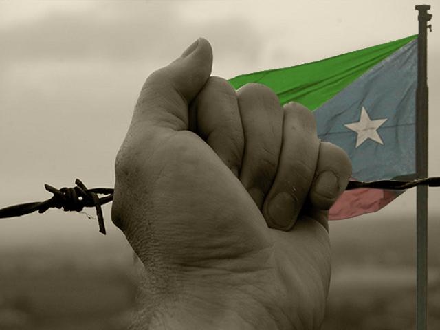 La bandera de Baluhcistán, detrás de una alambrada de espino. BY Beluchistan