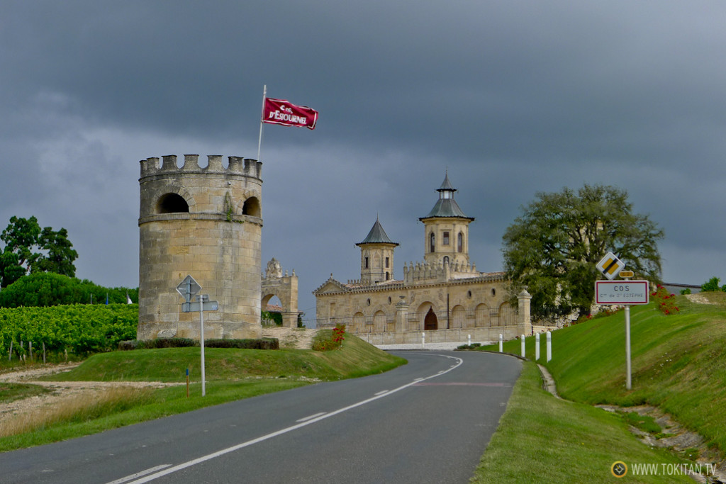 ruta_bicicleta_viñedos_burdeos_chateaux_castillos_bodegas_medoc_chateau_cos_destournel_carretera