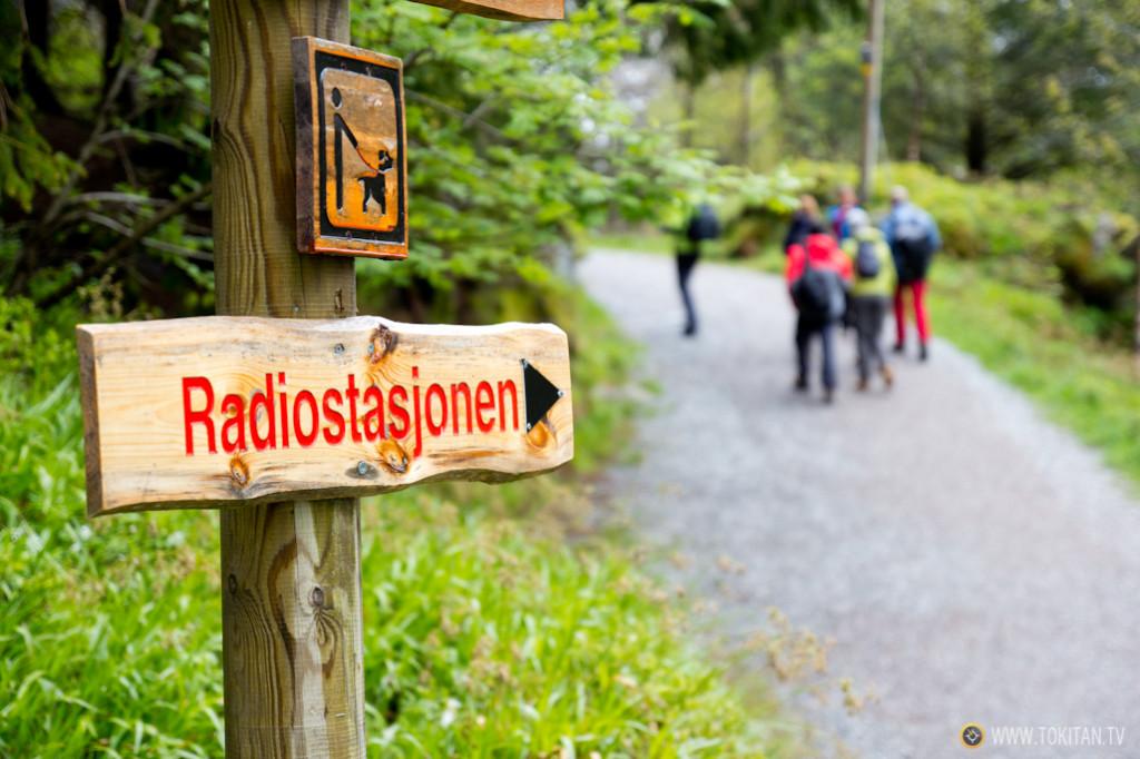 Señalética en el parque de Fløien, una de las siete cimas que rodean Bergen.