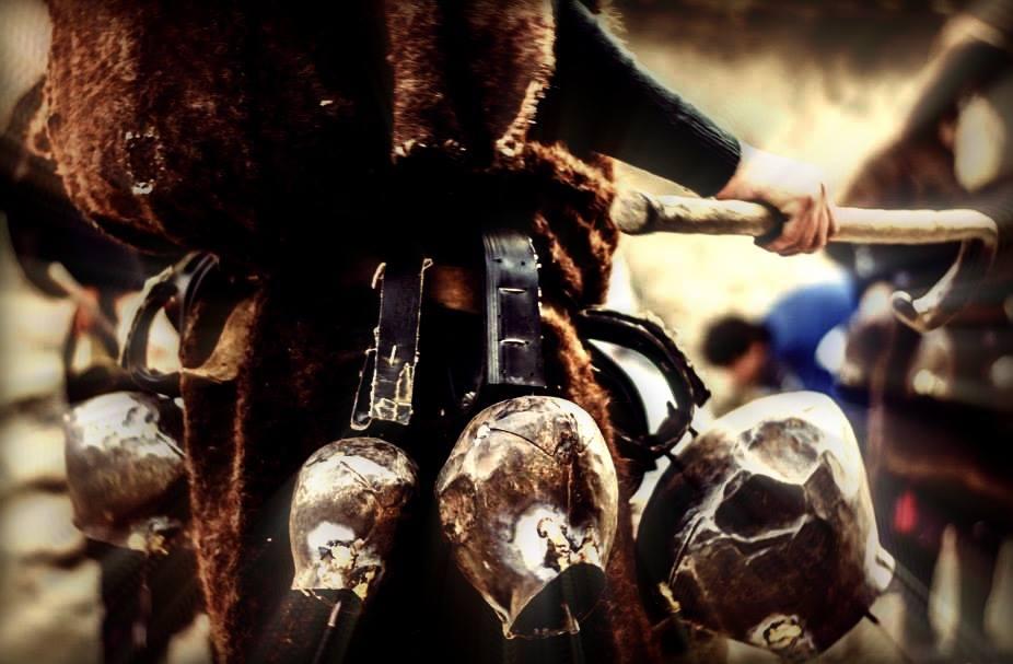 Detalle de los cencerros de los dzolomari o dzolomari en el carnaval de Begnishte en Macedonia. Foto: Goce Delchev University