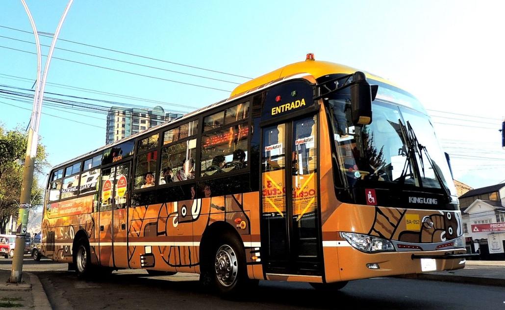 EL flamante y nuevo PumaKatari, el nuevo sistema de autobuses públicos de La Paz. | Foto: Leo Jauregui