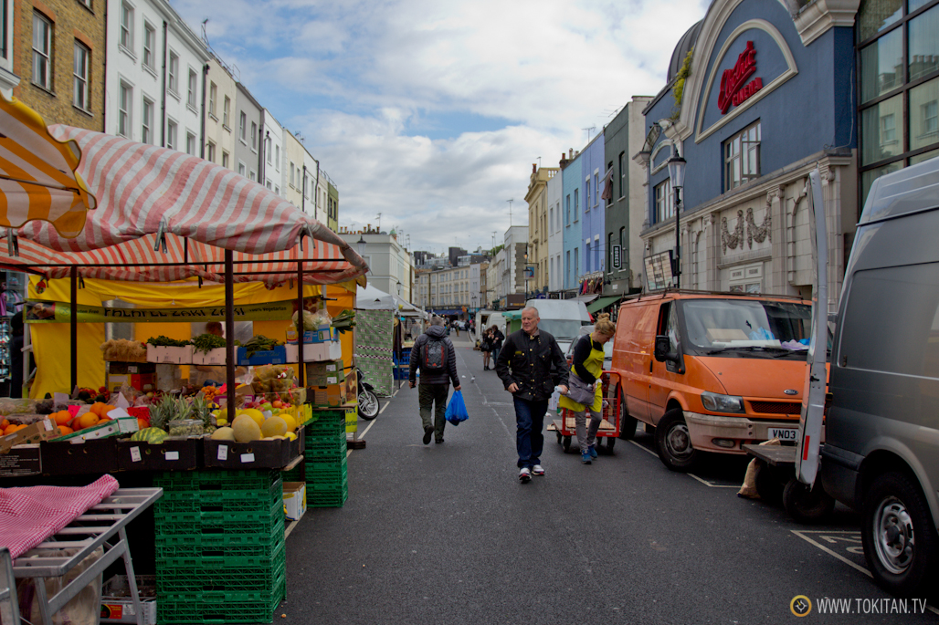 El mercadillo de la calle Portobelllo, en pleno barrio de Notting Hill.